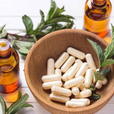 Herbal supplements in bowl