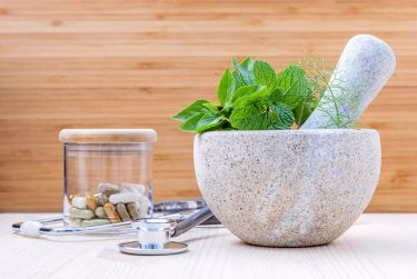 Herbs mortar and pestle