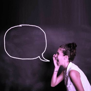 Girl speaking out speech bubble voice 1 1